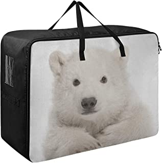 Sac pour vêtements de rangement mignon ours polaire ourson sous-vêtements organisateur 70 X 50 X 28 cm couette couvre-lit ...