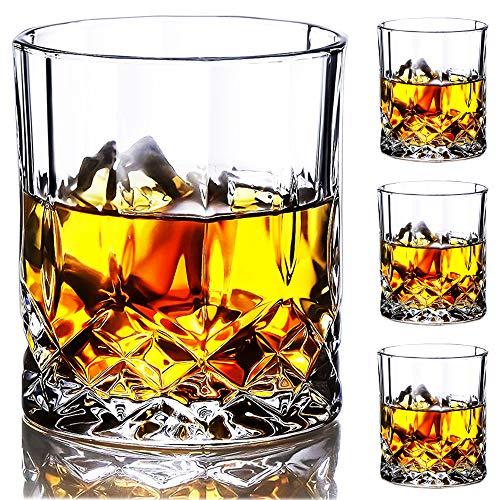 SZMMG Whiskygläser Set von 4 mit 11er Unzen Premium bleifreiem Kristall-Whiskyglas, altmodisches Glas im Rock-Stil zum Trinken von Scotch, Bourbon, Cognac, Irish Whiskey und altmodischen Cocktails
