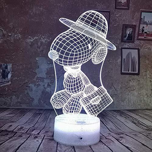 Cartoon Snoopy LED 7 Farben RGB 3D Nachtlicht Lampe USB Weihnachten Geburtstag Geschenke Tisch Schreibtisch Schlafzimmer Lampe für Kinder Baby