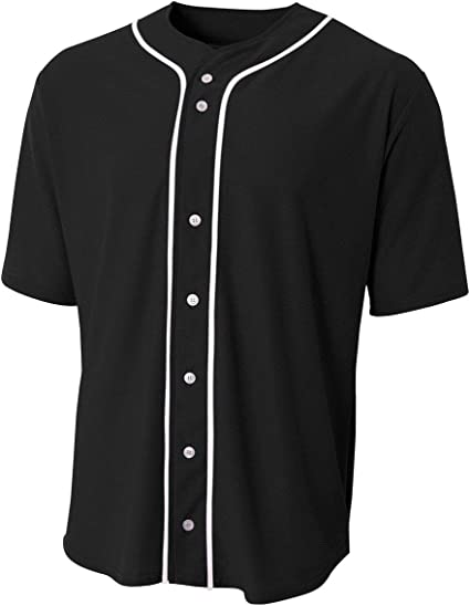 A4 Sportswear Baseball Full Button Custom or Blank Back Wicking Youth & Adult Jersey (8 Uniform Colors)
