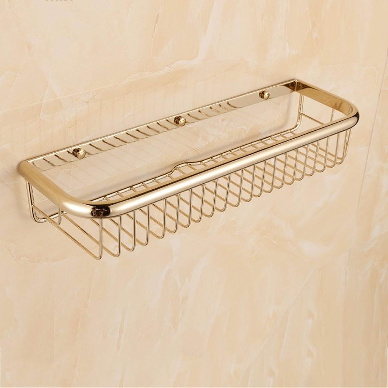 Cpp Shelf Bathroom Shelf European gold Retro Copper Basket