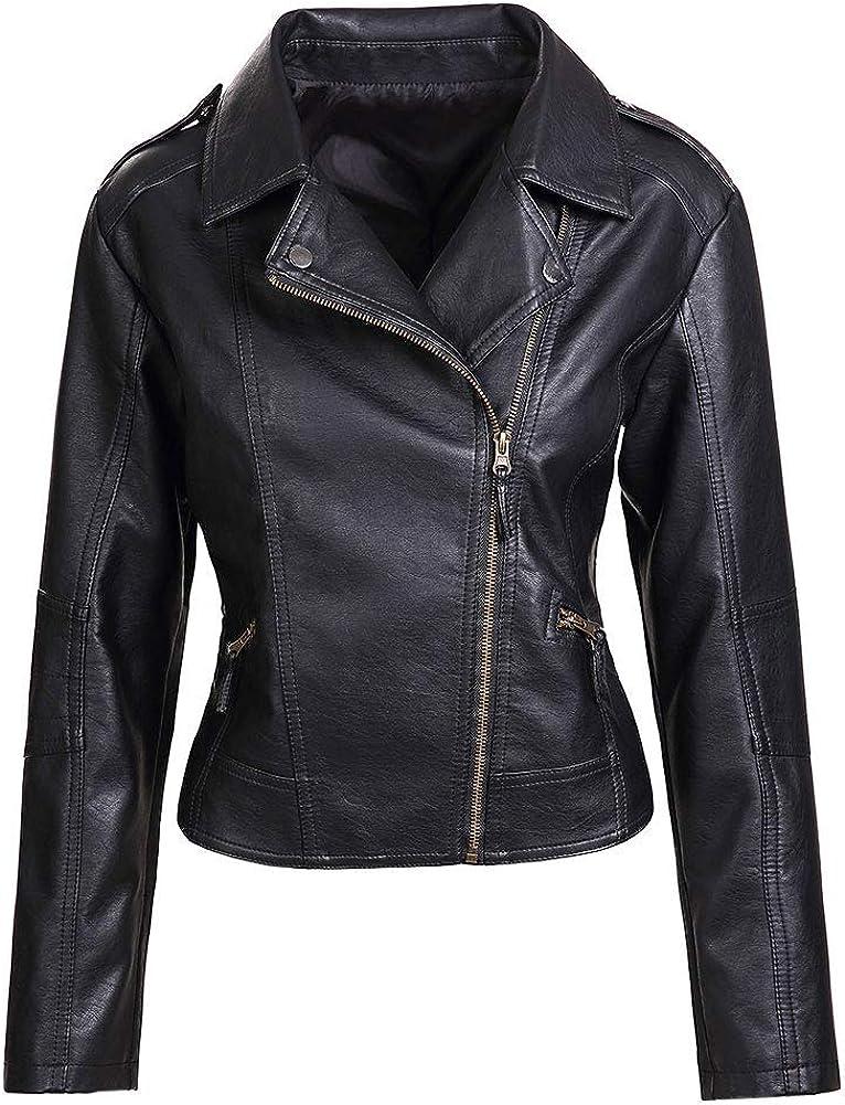 Artfasion Women's Faux Leather Jacket Ladies Girls Fashion Zip Up Motor Biker Jacket Coat (Black,XS to XXL)