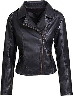Best Womens Slim Tailoring Faux Leather PU Short Jacket Coat Moto Biker Jacket Review