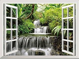 FLFK 3D Window View Tree Waterfall Forest Landscape Wall Sticker Vinyl Decal 72x51cm