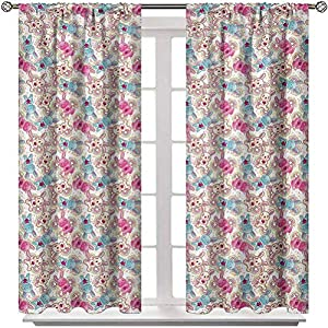 Blackout Curtains and Drapes Baby Insulated Window Treatment Drapes Cute Heroes Rabbits in Vivid Girls Kids Bunnies Spirals Stars Fun Theme for Sleep Protecting Pale Blue Hot Pink Cream