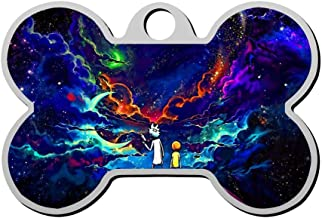 KHKHBKS Zinc-Alloy Custom 3D Print Rick and Morty Pet ID Tags Personalized Front and Back Bone Shape Dog Tags & Cat Tags