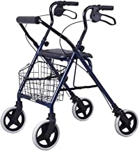 PXY Walking Frame,Aluminum Alloy Rollator,Lightweight Foldable 4 Wheel Rollator Walker Aid with Padded Seat Lockable Brake...