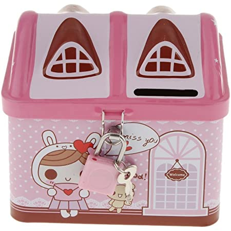 SYGA 1 Piece Money Saving House Shape Tin,Coin Bank with Lock and Key_Pink