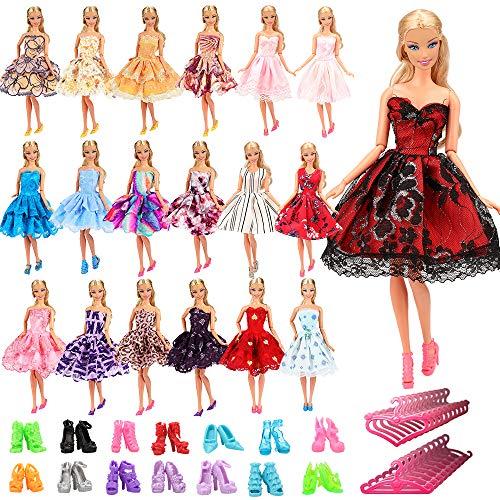 Miunana 15 Artículos = 5X Vestidos de Corto + 5 Pares Zapatos y 5 Perchas Vestir Ropa Casual Accesorios como Regalo para 11.5 Pulgadas 28 - 30 CM Muñeca Doll