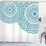 ABAKUHAUS Mandala Duschvorhang, Hochzeits-Einladung Spitze, Wasser Blickdicht inkl.12 Ringe Langhaltig Bakterie & Schimmel Resistent, 175 x 220 cm, Himmel Blau Blass Blau