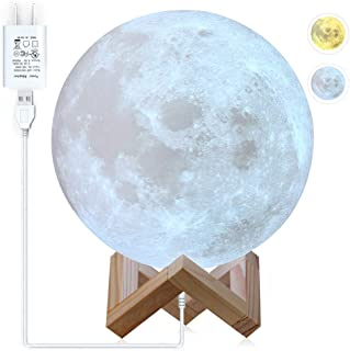CPLA Moon Lamp Moon Light 3D Large Lamps 2 Color Moon Night Light with Stand Lunar Cool Lamp, with USB Charger Adapter with Wooden Stand Kids Moonlight LED 5.9 inch 2 Color