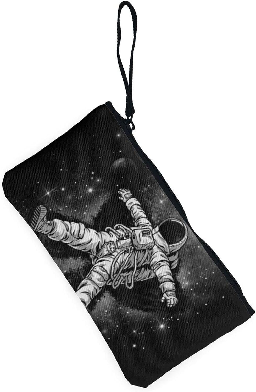 AORRUAM Happy Astronaut Canvas Coin Purse,Canvas Zipper Pencil Cases,Canvas Change Purse Pouch Mini Wallet Coin Bag