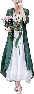 Women's Oriental Beauty Folk Style Irregular Maxi Painting Cotton Linen Casual 2-Pieces Loose Dress
