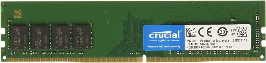 Crucial 4GB DDR4 SDRAM Memory Module - 4 GB - DDR4 SDRAM - 2666 MHz DDR4-2666/PC4-21300 - 1.20 V - Non-ECC - Unbuffered - 288-pin - DIMM