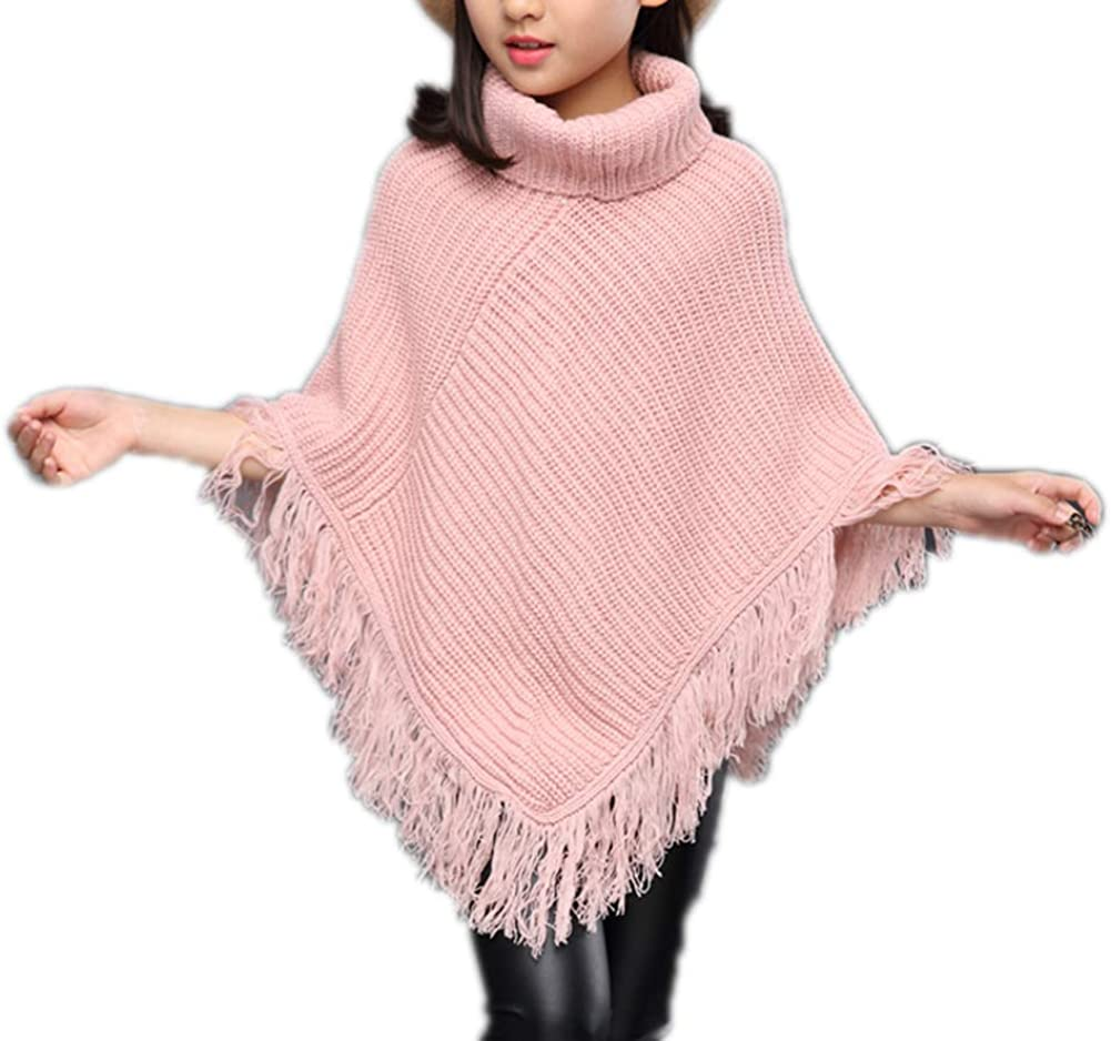 Sitmptol Girls Kids Fall Elegant Detroit Mall Knitted Poncho Tassel Sweaters Pullover
