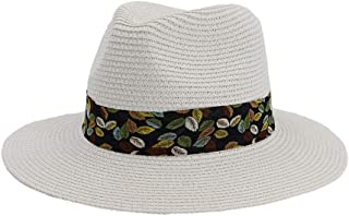 Lady's Sun hat Vintage Women Summer Beach Sun Visor Cap Panama Hat Men Stubble Fedora Male Sunhat Chapeau Nerveless Jazz Trilby Cap Sun hat (Color : White, Size : 56-58CM)