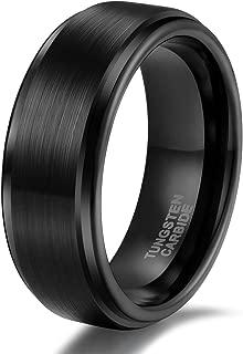 Shuremaster 6mm 8mm Tungsten Carbide Wedding Ring Band for Men Women Step Edge Black/Silver Engraved I Love You Comfort Fit 4-15