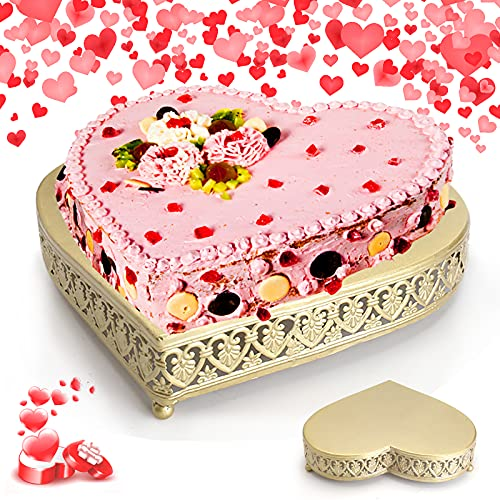 """Gold Cake Stand for Birthday Wedding, 13"""" Heart Shaped Cake Stand for Baby Showers Anniversary Celebration Parties"""