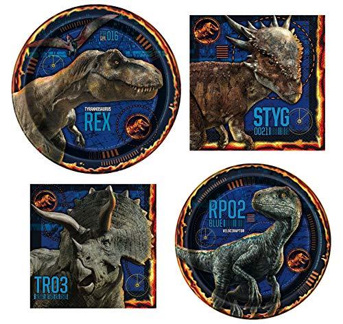 Suministros y decoraciones de fiesta de dinosaurios Jurassic World – Producto oficial | Platos de papel para cena y postre, servilletas de papel para almuerzo y bebida