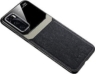 ل Vivo V20 SE حافظة جلد لينة غطاء سيليكون غطاء حماية الزجاج - أسود