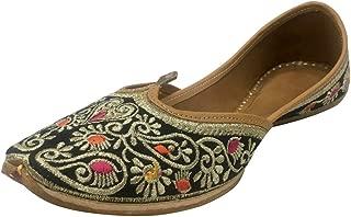 Black Indian Beaded Shoes Flip Flop Sandal Punjabi Jutti Khussa Flat Shoes