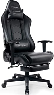 GTRACING Gaming Chair with Footrest Black Office Executive Chair Big and Tall Heavy Duty Adjustable Recliner with Headrest Lumbar Support Cushion Computer Desk Chair