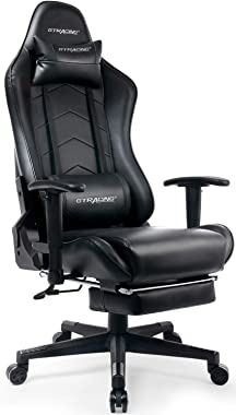 GTRACING Gaming Chair with Footrest Big and Tall Office Executive Chair Heavy Duty Adjustable Recliner with Headrest Lumbar S