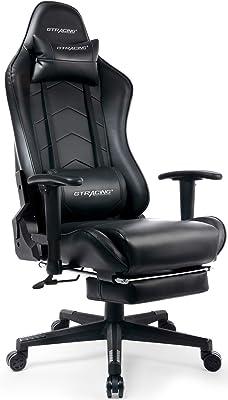 GTRACING ゲーミングチェア オットマン リクライニング 肘掛け付き 黒 GT901BLACK