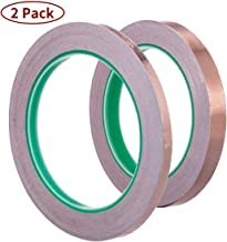 Vasdoo Copper Foil Tape 2 Pack(1/2 inch+1/4 inch) with Conductive Adhesive for EMI Shielding, Stained Glass, Paper Circuits, Electrical Repairs, Grounding