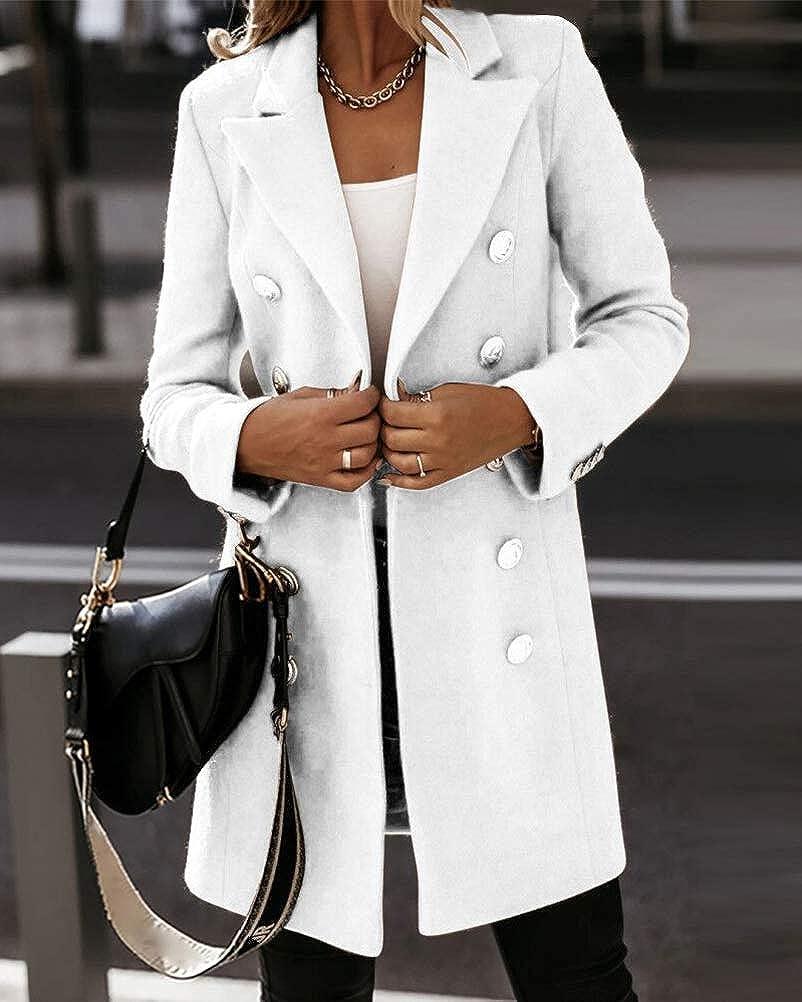 Onsoyours Damen Blazer Winter Mantel Steppmantel Knopf Klassische Vintage Elegant Warm Wintermantel Zweireihig Revers Schlack Slim Fit Trenchcoat mit Taschen Weiß