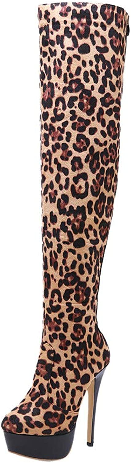 Theshy Women Fashion Leopard Winter Over-The-Knee Boots High Heels Zip Round Toe shoes