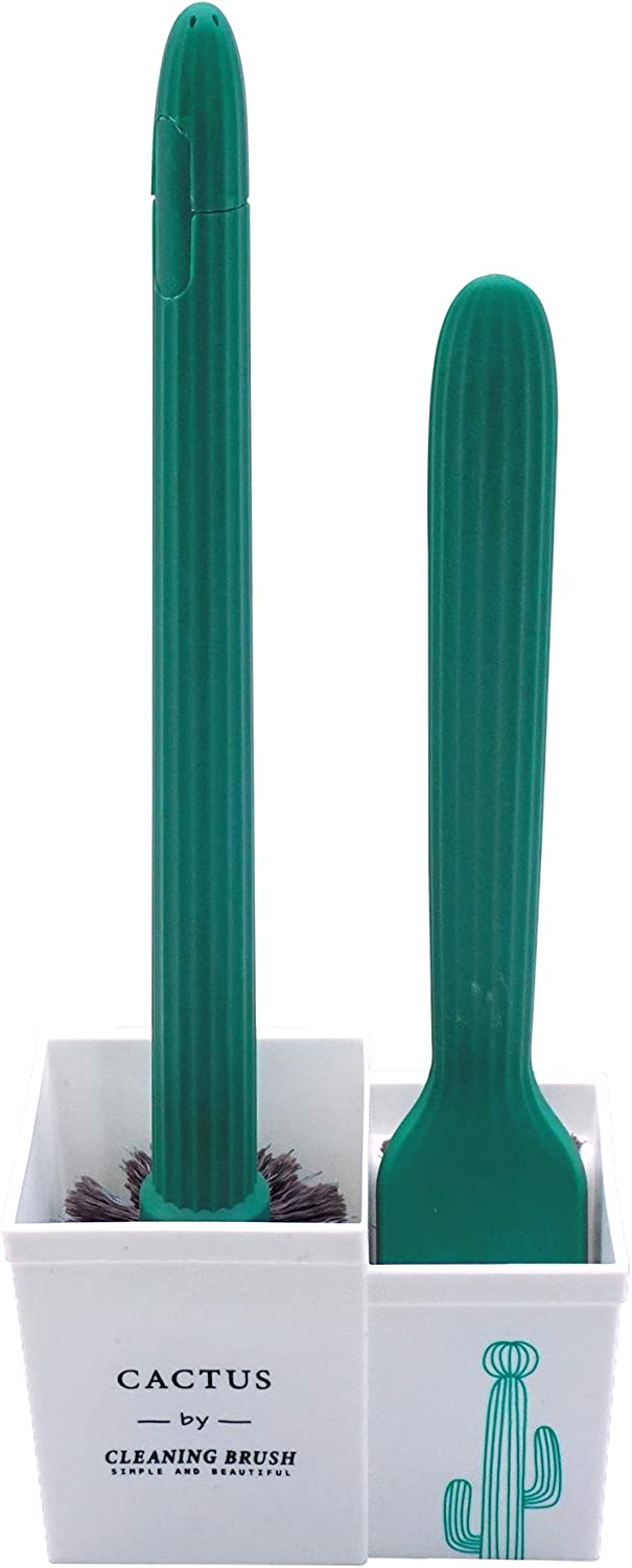 Toilet Brush and Super sale period limited Holder Cactus Shape Set Clean Easy Two Max 71% OFF of Wi to