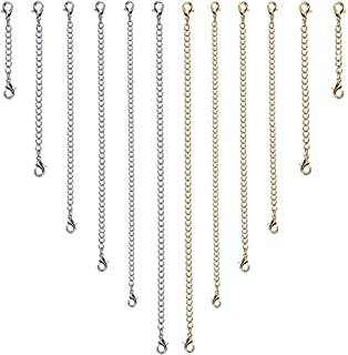 Kuqqi 12pcs Stainless Steel Necklace Extender Bracelet Extender Chain Set 6 Different Length(6 Gold, 6 Silver)