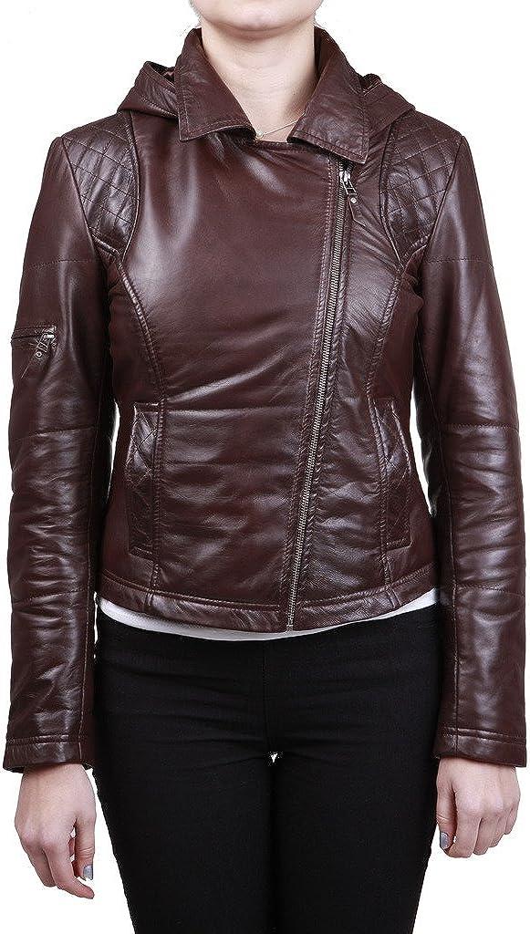 Women's Detachable Hood Quilted Brown Leather Biker Jacket
