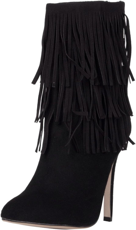 Calaier Womens Caweekend 2016 Winter Warm Fashion Dress Tassle High Heel shoes Pointed Toe 12CM Stiletto Zipper Boots