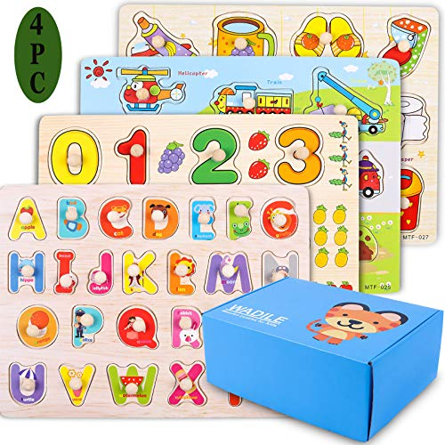 WADILE Wooden Peg Puzzles 4PC for Toddlers 2 3 4 Years Old Toddler Puzzles Set Letter Number Car Daily Supplies Learning Toys Gift for Girls and Boys