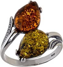HolidayGiftShops Sterling Silver and Baltic Multicolored Amber Ring Tulips