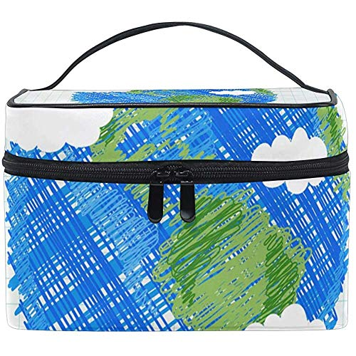 Grand Voyage Maquillage Train Case Earth Day Transportant Portable Zip Cosmétique Brosse Maquillage Sac Organisateur