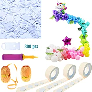 Party Zealot 300 Pieces Balloon Ties Tying Tool, 32 Ft Ballon Decorating Strip Balloon Chain, 2 Rolls Glue Dots for Balloons and Balloon Flower Clips for Birthday Party Decoration