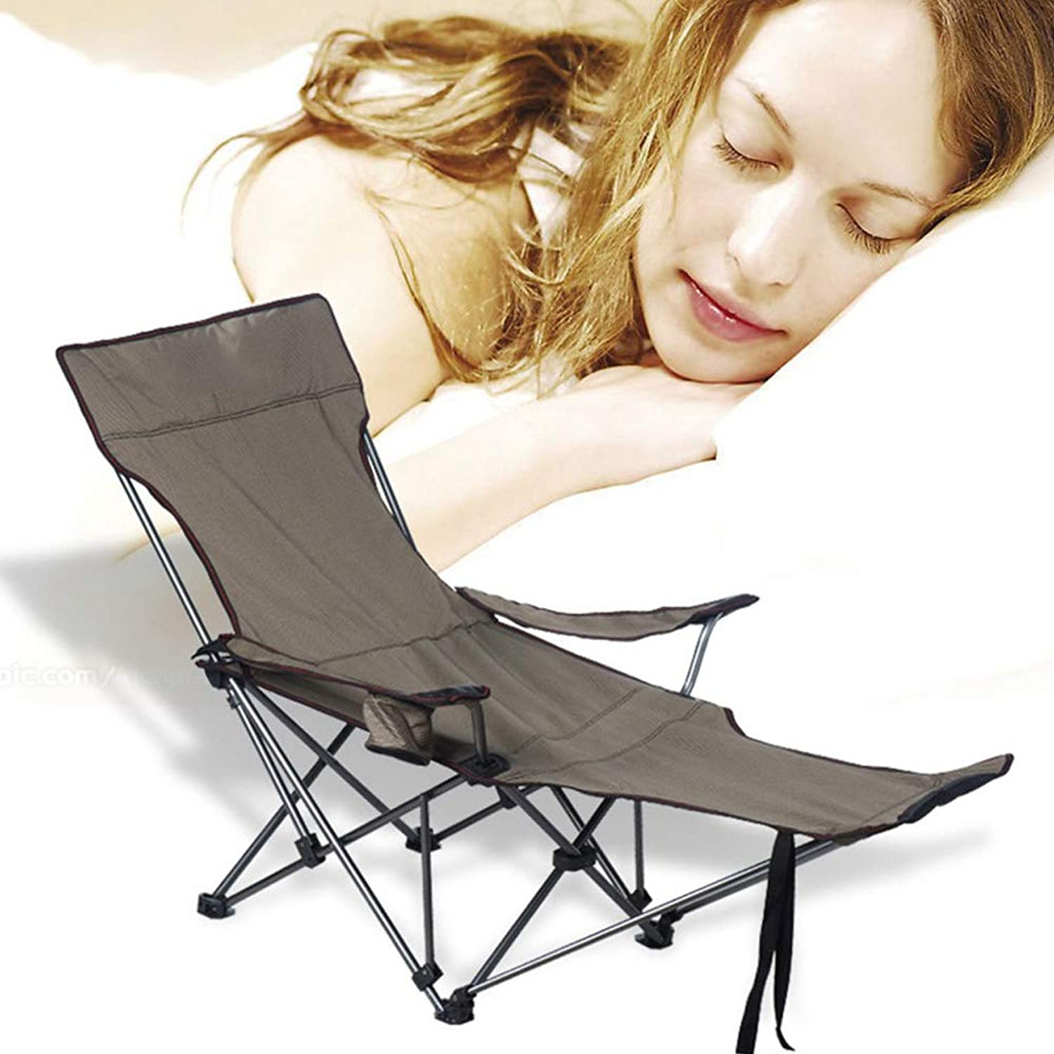 Folding Camping Chair Adjustable Recliner with footrest, for Camping Hiking Beach Fishing Garden, Supports up to 330 lbs