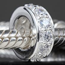 Spacer Charms Sterling Silver Spacer Bead Zircon Charm for Bracelets