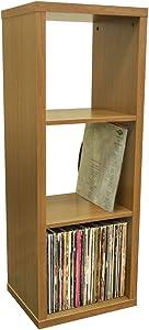 WATSONS Cube - 3 Etagere de Rangement Vinyls LP - Finition Chene