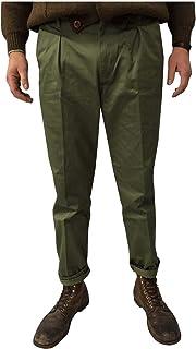 MANIFATTURA CECCARELLI Pantalone Uomo Chino Verde 7500 75% Cotone 25% Poliestere Made in Italy