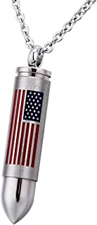BY Bullet American Flag Cremation Ashes Urn Necklace Memorial Pendant Stainless Steel Waterproof Jewelry