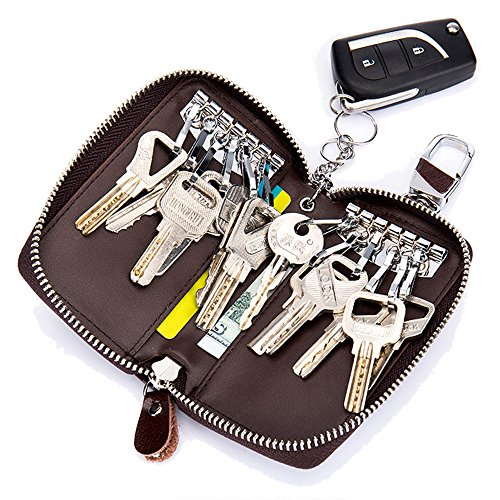 Aladin Large Leather Key Case Wallet with 12 Hooks & 1 Keychain / Ring for Women and Men Coffee