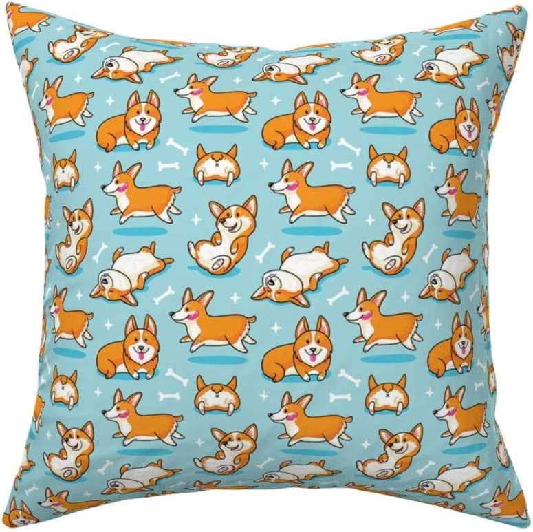Corgi Dog Flowers Florals Throw Pillow Cover w Optional Insert by Roostery