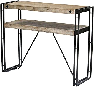 Heather Ann Creations 31.5 Acacia Wood and Brown Metal Finish Granger Collection Handmade Rustic Industrial Style Console Table Writing Desk