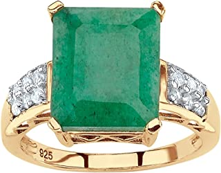 18K Yellow Gold over Silver Genuine Green Emerald and White Topaz Emerald Cut Ring