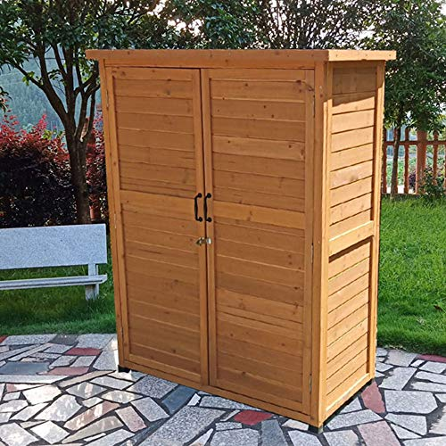 household products 5-layer outdoor garden storage box tool shed, double-door balcony wooden storage shed, courtyard lawn swimming pool accessories storage shed, used in gardens, courtyards and farms
