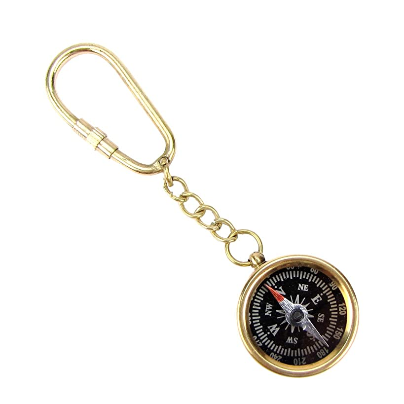 TG,LLC Solid Brass Nautical Directional Pocket Compass Keychain